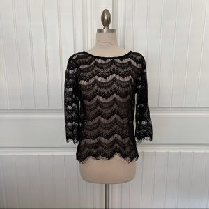 Black Lace 3/4 Length Sleeve Top